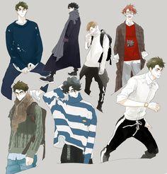 Anime Guys, Manga Anime, Anime Art, Haikyuu Fanart, Haikyuu Anime, Anime Cosplay, Character Inspiration, Character Art, Ushijima Wakatoshi