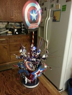 Captain America Birthday Centerpiece