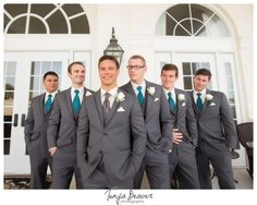 River House Wedding; Tonya Beaver Photography; St Augustine Wedding; dark gray suit; dark gray suit with teal ties