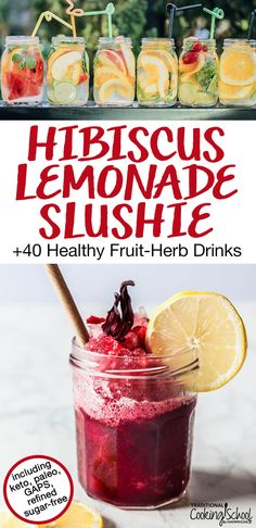 Nothing beats a Hibiscus Lemonade Slushie for healthy summer refreshment! Try it, plus 40 more healthy fruit-herb drinks, like infused waters, agua frescas, teas, lemonades, and more! There are refined sugar-free summer drink recipes for keto, paleo, and GAPS, too! #tradcookschool #summerdrinks #healthydrinks #herbs #aguafresca #icedtea
