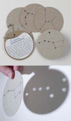 Constellation cards! Could make these cuter by using colored discs- great for a camp-out or evening wiener roast or other event!