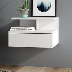 Ajka 1 Drawer Bedside Table Home Etc Colour: White Wall Mounted Bedside Table, 3 Drawer Bedside Table, Bedside Cabinet, Bedside Shelf, Floating Desk, Floating Nightstand, Floating Shelves, 3 Door Sliding Wardrobe, Sliding Door