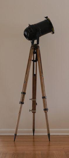 Vintage Wood Surveyor's Tripod Industrial Floor Lamp