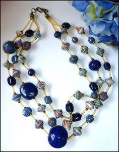 """Necklace - Jewelry - 3 Strand Beaded Necklace - Rolled Paper Beads and Glazed Clay Beads -Blue - 21"""" - Handcrafted in Haiti - P-102-N-BL by TropicAccents on Etsy"""