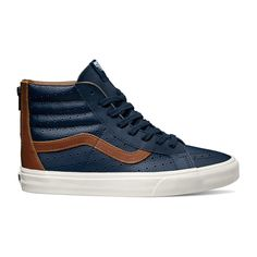 04b6c79a687136 VANS SK8 HI LEATHER PERF REISSUE ZIP SHOE DRESS BLUE SZ US M 9.5 W 11