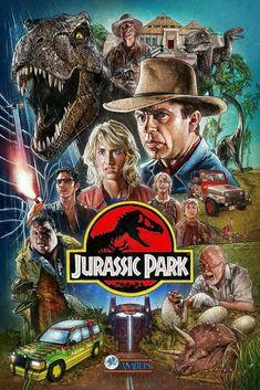 Alles wat je moet weten over Jurassic Park in 1 enkele afbeelding. Het typische logo met het typische lettertype, de avontuurlijke locaties, de dino's, de kledij (weer zo'n hoed zoals Indiana Jones) en de kleuren