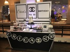 Chanel theme birthday party dessert table - custom pearl banner by The Paper Penguin