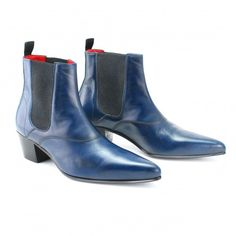Navy Cavern Boots with a Cuban heel!!! ^_^ courtesy of Beatwear.com/UK