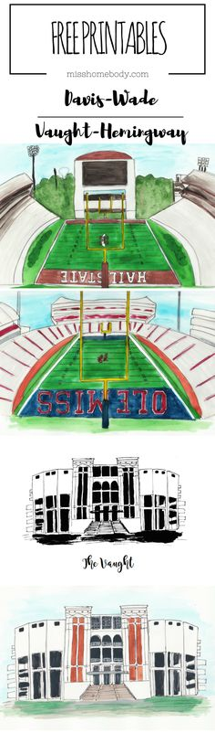 Free Mississippi Printables! Davis-Wade Stadium - Vaught-Hemingway Stadium - Ole Miss - Mississippi State   #hottytoddy #hailstate