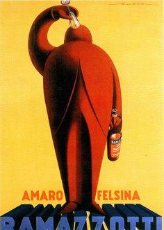 Vintage Italian Posters ~ #illustrator #Italian #posters ~ Federico Seneca, Amaro Felsina Ramazzotti, 1925 ca.