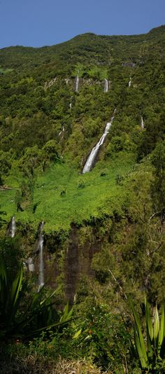 Bridal Veil Falls - waterfall on the island in #Reunion. Located at an altitude of about 500 m above the mountain rampart.