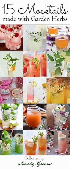 15 Mocktail Recipes made with Garden Herbs Straight from the garden, this collection of delicious and refreshing drinks are alcohol-free alternatives to their boozier cousins. Party Drinks, Cocktail Drinks, Fun Drinks, Yummy Drinks, Healthy Drinks, Beverages, Non Alcoholic Drinks, Alcohol Free, Refreshing Drinks