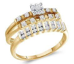 Diamond Engagement Rings Set Wedding Bands Yellow Gold Men Lady  | mens wedding rings