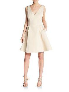 $159.99 Veronica Bow-Trim Jacquard Dress