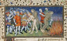 La Vraye Histoire du Bon Roy Alixandre (The Alexan - caption: 'Alexander burns a wild man'