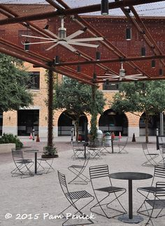 metal mesh arbor w tiny lights (and can lights). public plaza at site of old Pearl Brewery, San Antonio TX.