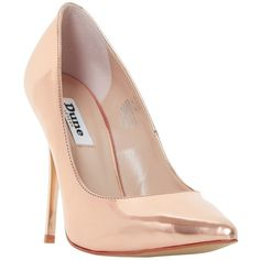 Dune Blaze Stiletto Heeled Court Shoes, Rose Gold (€47) ❤ liked on Polyvore featuring shoes, pumps, heels, low heel shoes, low pumps, high heel stilettos, pointed toe stilettos and slip on shoes