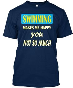 Swimming T Shirt  Navy T-Shirt Front
