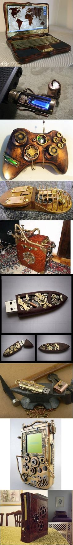 Steampunk gadgets. love the XBOX stuff