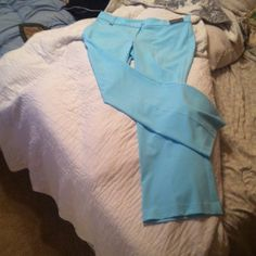 sky blue size 14 pants Sits at lower waist, slimming through hip and thigh.  Size 12, stretch.  All original tags, never worn. New York & Company Pants Boot Cut & Flare