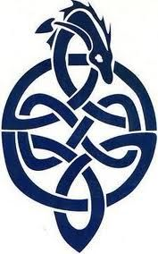 celtic knot with blue dragon