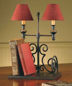"Black iron ""Book End Lamp"" by Park Designs. Petite twin lampshades glow with a lingering invitation . come sit awhile. H x 12 W x 7 D Country Lamps, Country Living, Book Lamp, Iron Furniture, Up House, Metal Wall Decor, French Country Decorating, Lampshades, Interiores Design"