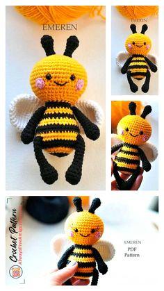 Crochet Bee, Crochet Amigurumi Free Patterns, Crochet Animal Patterns, Stuffed Animal Patterns, Crochet Animals, Crochet Crafts, Crochet Toys, Crochet Projects, Free Crochet