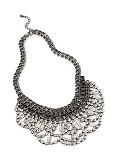 Scalloped Rhinestone Necklace | FOREVER21 - would be pretty with denim shirt