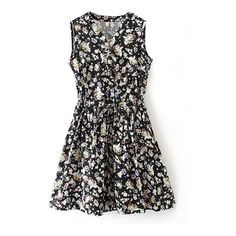 Sleeveless V-Neck Floral Print Drawstring Waist Dress (29 CAD) ❤ liked on Polyvore featuring dresses, vestidos, sukienki, vestiti, sleeveless v neck dress, sleeveless dress, floral printed dress, floral day dress and botanical dress