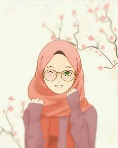 hijab drawing Hijab and glasses girl Wallpaper Hp, Cartoon Wallpaper, Cartoon Kunst, Cartoon Art, Art And Illustration, Girl Cartoon, Cute Cartoon, Hijab Drawing, Islamic Cartoon