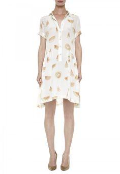 The PANELED Dress - GATHERED DROP WAIST SHIRTDRESS - Watermelon Silk Print - MiH
