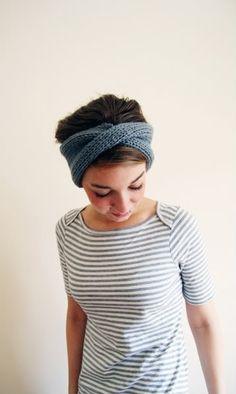 Cable knit turban headband