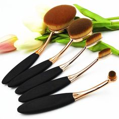 5 Piece Oval Brush Make Up Toothbrush Set 2016 Rose Gold Oval Makeup Brush Set Cosmetic Brushes For Makeup Oval Brush Set #85846