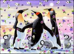 """Daily Paintworks - """"Spring Emperor Penguins Party"""" - Original Fine Art for Sale - © Patricia Ann Rizzo"""