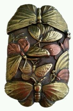 c. 1900 Japanese Patinated Many Butterflies Brass Match Safe Collecters Quality #Japan