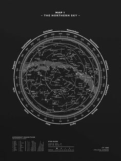 "You can save 50% when purchasing ""Map I + Map II"" as a pair! Both ""Map I – The Northern Sky"" & ""Map II – The Southern Sky"" are amazing illustrations of the northern & southern sky and its constellations in all their incredible details. Both maps are large one-color silkscreen prints, printed with custom mixed inks on solid-colored premium paper stock. Editions count 500 pieces, numbered and signed. This is your guide to a perfect night under the..."