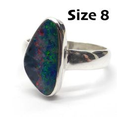 Opal Doublet Ring | 925 Sterling Silver | Freeform Stone | Size 8 | Crystal Heart Melbourne Australia since 1986