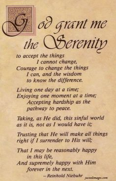 Discover the meaning behind the prayer for serenity. Read all versions of the Serenity Prayer and its History. God grant me the serenity to accept the things I . Serenity Prayer Tattoo, Serenity Quotes, Full Serenity Prayer, Serenity Prayer Long Version, Bible Quotes, Bible Verses, Bible Bible, Devotional Quotes, Prayer Scriptures