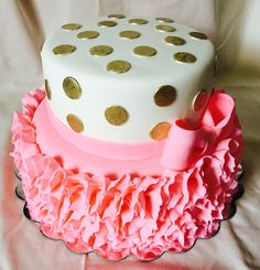 Pink Ruffles and gold polka dots baby girl baby shower cake