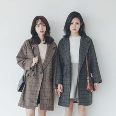 Autumn/Winter S-L New Fashion Loose Plaid Thick Women Woolen Coat with Pocket 2018 Casual Female Outwear Coffee Gray One Button Fashion Couple, New Fashion, Fashion Outfits, Dress Outfits, Dresses, Korean Street Fashion, Asian Fashion, Plaid Coat, Cute Fall Outfits
