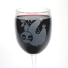 Etched 12oz wine glasses - - Dishwasher-Safe, Microwave-Safe - Sandblasted etch lasts a lifetime Sloth wine glasses are the best way to show off your cute, slow side, and your enjoyment of naps. Appro