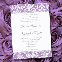 Lavender Wedding Invitations  Printable Purple by WeddingTemplates, $8.00