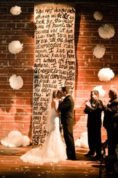 Hand Painted Poetry Backdrop 12-14 ft- Perfect for Wedding Ceremony, Sweetheart Table Background - Customized with your words on Etsy, Sold