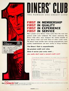 1962 Ad Vintage Diners Club Credit Card Charge Personal Finance Member Benefit
