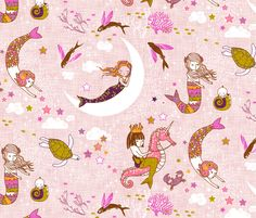 Mermaid Lullaby (Rose Linen) fabric by nouveau_bohemian on Spoonflower - custom fabric