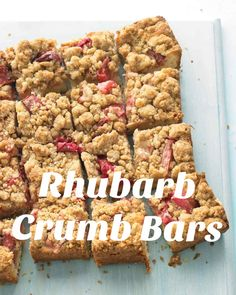 Rhubarb Crumb Bars | Martha Stewart Living - Going to the sweet -- and buttery -- side, these streusel bars are an irresistible teatime treat.