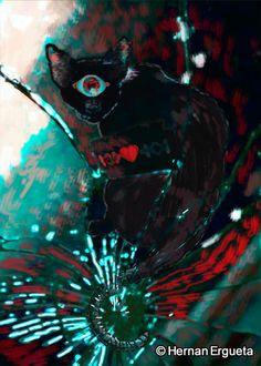 """Ilustración del cuento titulado """"El gato llamado Soledad"""" (The Cat Named Loneliness) del libro: El Santuario que Arde"""" de Hernán Ergueta #hernanergueta #ilustracion #cuentos"""