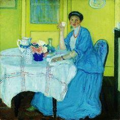 Frederick Carl Frieseke - Lady in Blue by Frederick Carl Frieseke