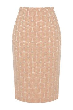 Hello Magazine can't get enough of  this beautiful peachy coloured daisy pencil skirt from the Loved by Molly collection at Oasis.