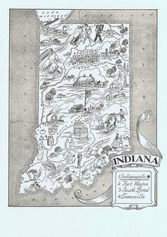 Vintage MAP Indiana Perfect for Framing by BlastsFromThePast, $14.95